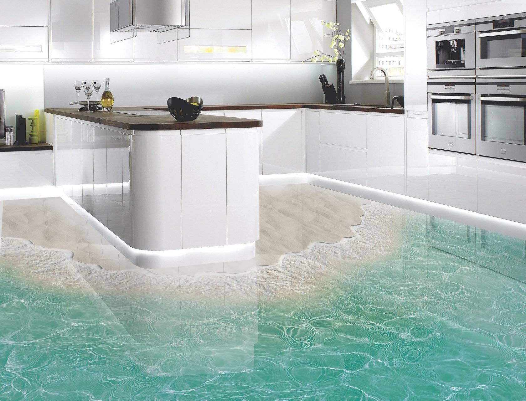 Наливной самовыравнивающийся пол на кухне – выбор и монтаж (фото)