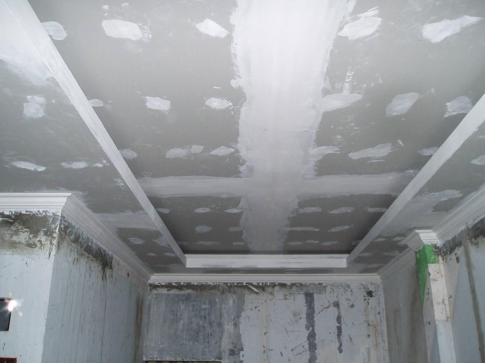Как шпаклевать потолок из гипсокартона: чем правильно делать финишная шпаклевку своими руками, фото и видео-инструкция