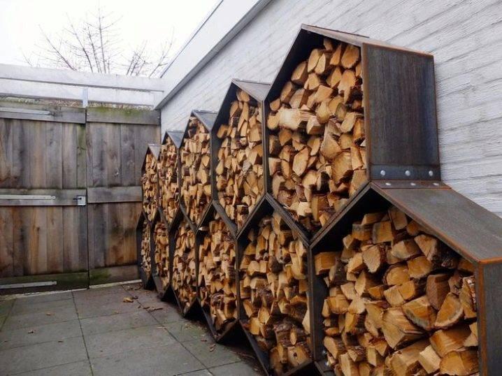 Дровница из металла для дачи: дровник на улице из металлического профиля, фото с размерами, уличный дровяник из профнастила