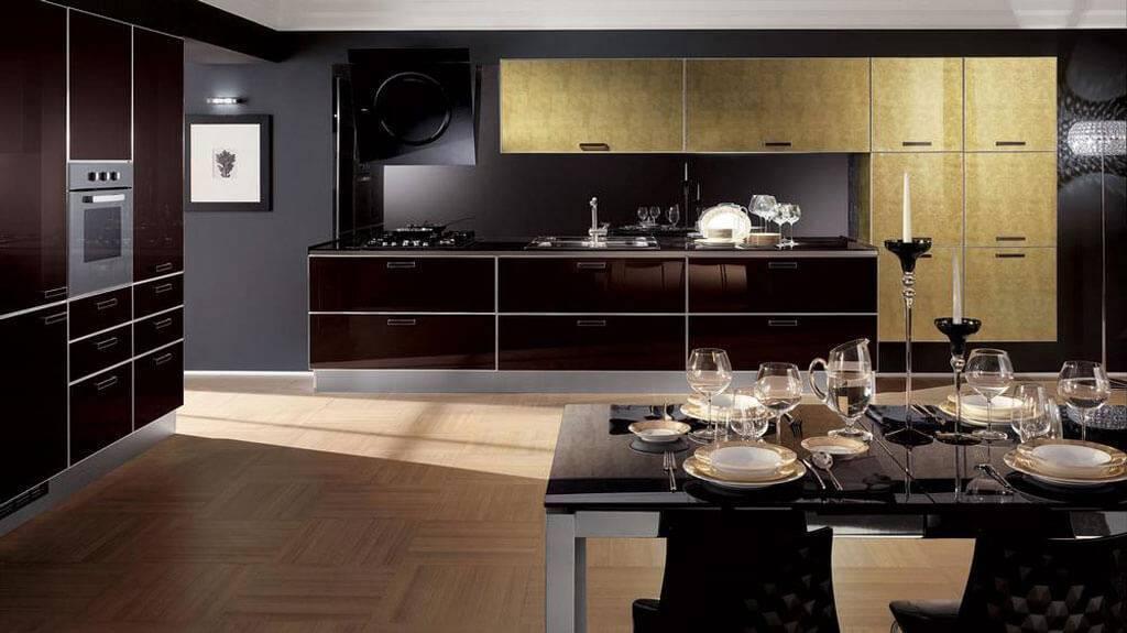 Кухня под потолок: изумительный интерьер в стиле классика, модерн и хай-тек