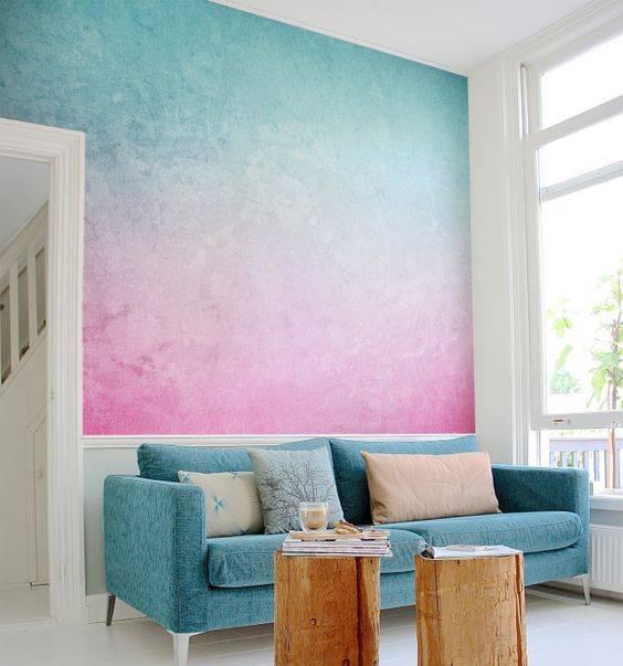 Омбре или градиентная покраска стен своими руками: как покрасить, пошаговая инструкция по выполнению работ