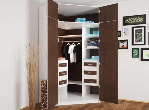 Распашные угловые шкафы (21 фото): с двумя дверями, однодверный и г-образный модульный шкаф для одежды