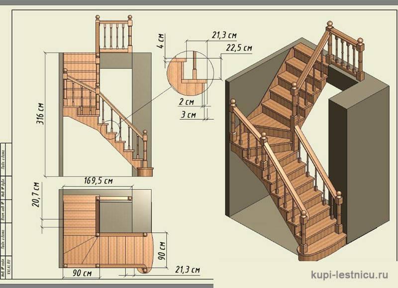 Конструкция деревянной лестницы с забежными ступенями: фото, схемы