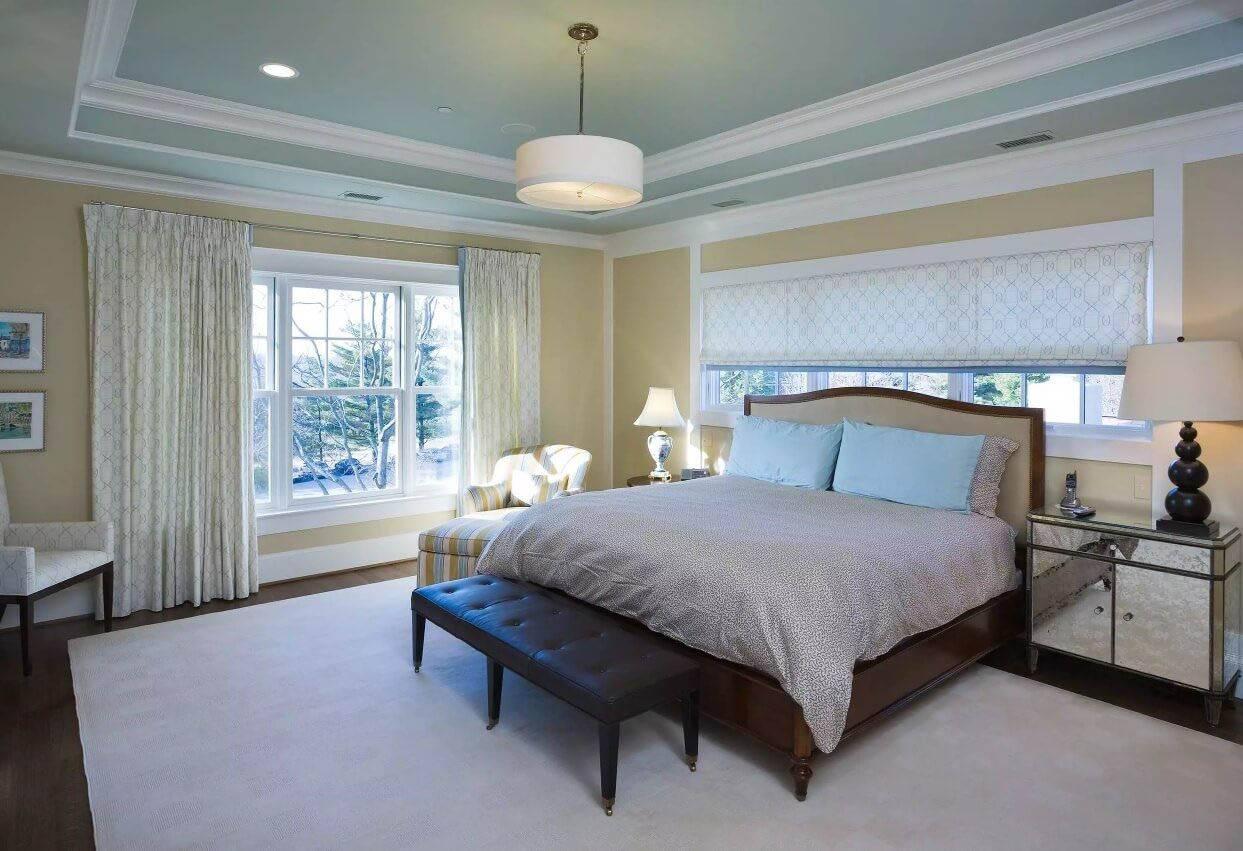 Потолки из гипсокартона для спальни: фото, дизайн, виды форм и конструкций
