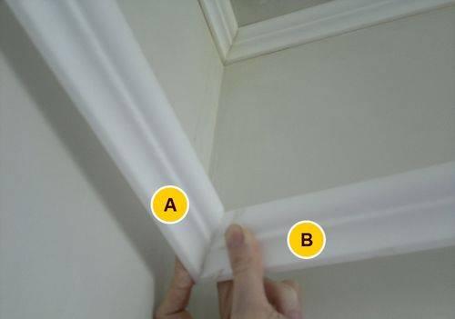 Как отрезать угол на потолочном плинтусе правильно