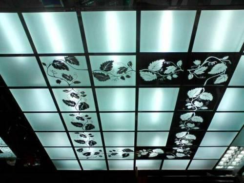 Стеклянный подвесной потолок - эстетично и привлекательно
