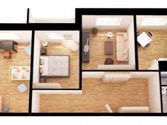 Варианты перепланировки 3-х комнатной квартиры серии п-3, п-44. передел трехкомнатной в 2х- и четырехкомнатную. примеры проектов  хрущевки в кирпичном и панельном домах