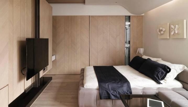 Телевизор в спальне: 40+ фото, идеи размещения на стене, потолке, в шкафу