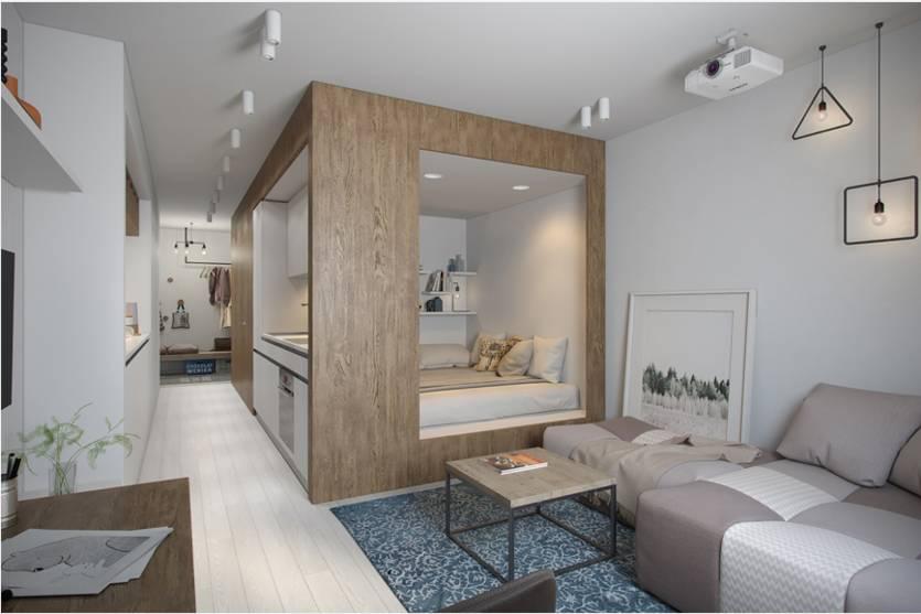 Интерьер квартиры студии 27 кв.м и его особенности