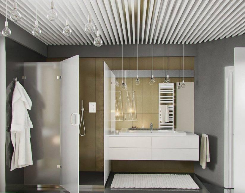 Реечный потолок в ванной комнате: виды и особенности монтажа