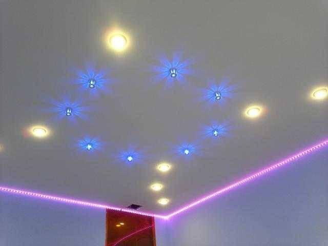 Как лучше расположить светильники на натяжном потолке?