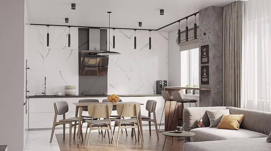 Дизайн кухни без верхних шкафов: фото интерьеров с разными планировками и стилями