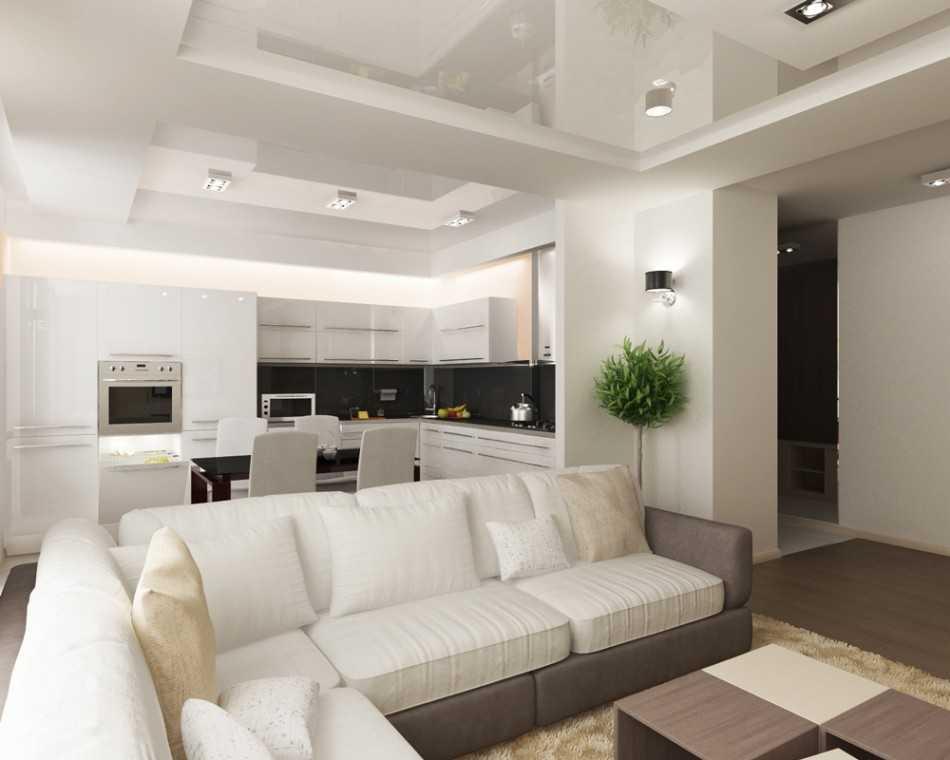 Дизайн кухни-гостиной 23-24 кв. м