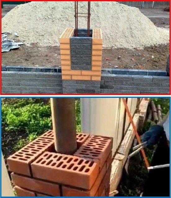 Кирпичные столбы для забора - схема устройства и строительство своими руками