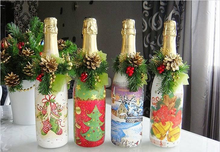 Как украсить своими руками бутылку шампанского на новый год? украшения и декор, новогоднее оформление лентами и конфетами