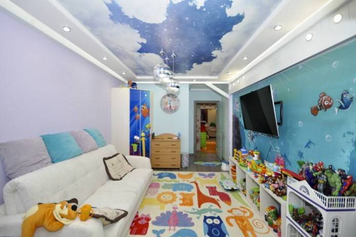 Натяжные потолки в детскую (89 фото): в комнату для девочек, стоит ли делать в спальню