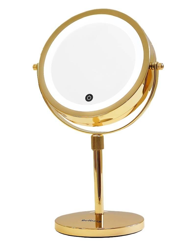 Настольное зеркало с подсветкой (41 фото): увеличивающее изделие со светодиодами или обычными лампочками для макияжа, косметический аксессуар с 2-кратным увеличением, большое или маленькое