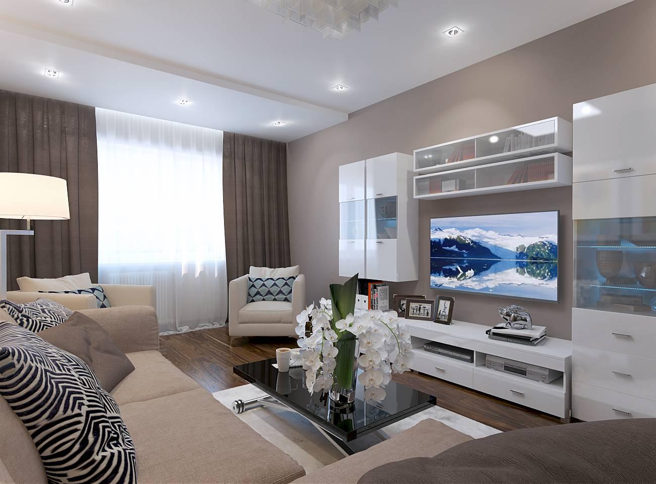 Комната 17 кв. м спальня-гостиная фото: дизайн и зонирование, современный совмещенный интерьер, прямоугольная спальня