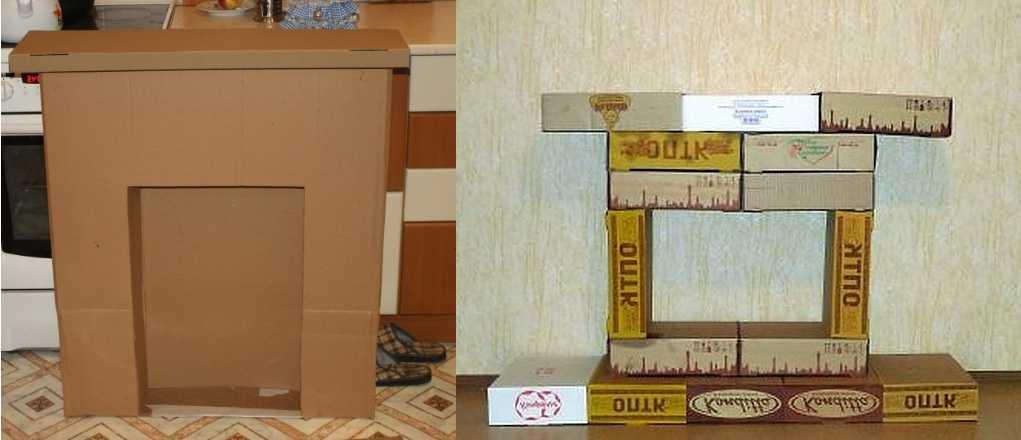 Камин из коробки своими руками на новый год пошаговая инструкция с фото