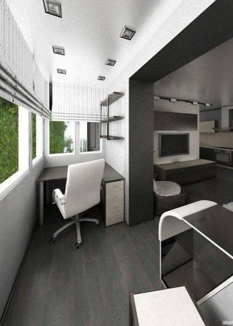 Лоджия, совмещённая с комнатой - проекты, процесс объединения + дизайн на фото