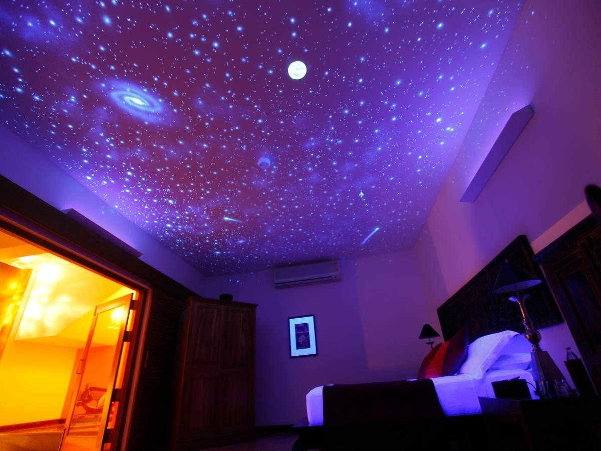Натяжной потолок звёздное небо:виды полотен, установка, уход