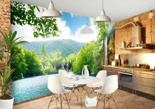 Фотообои 3d зеленый на кухню (61 фото): на стену в галерею и возле стола