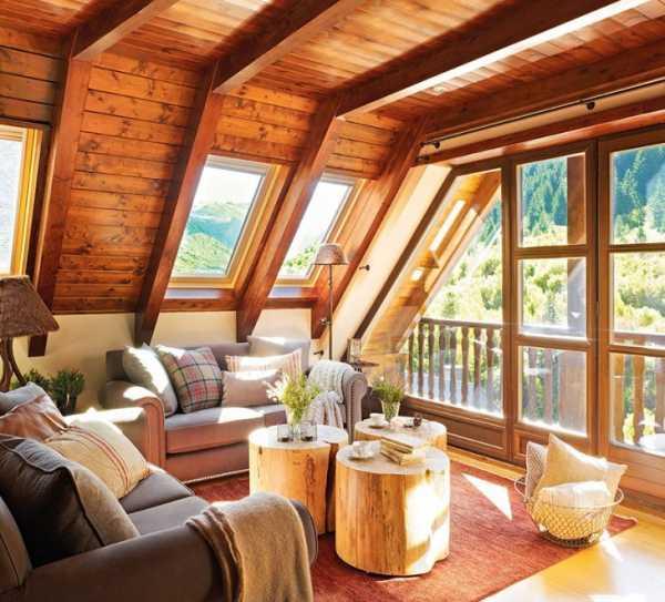 Потолок на мансарде - варианты дизайна, фото