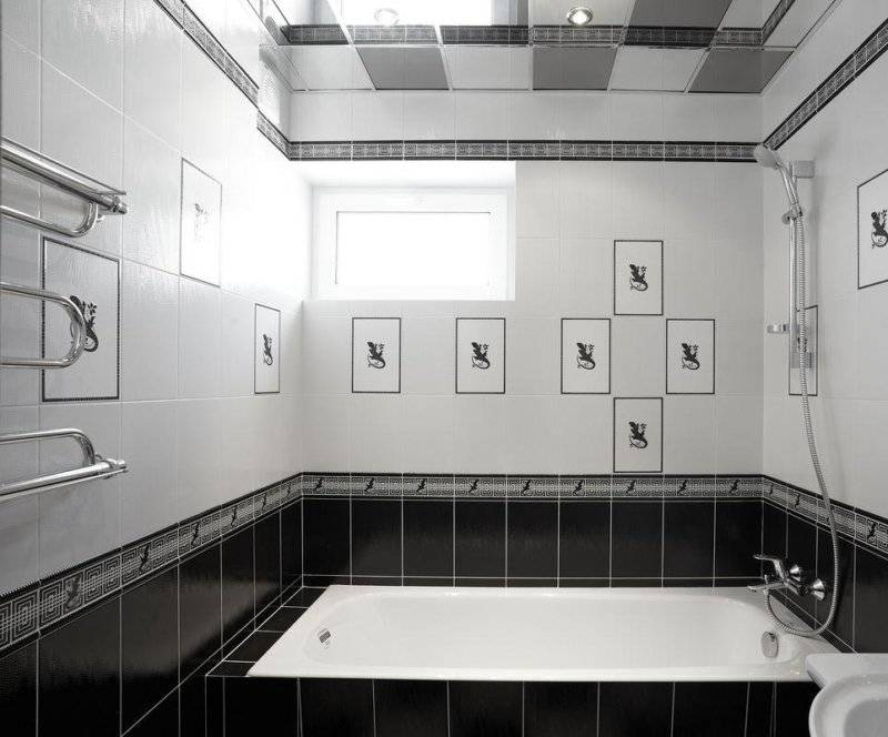 Черно-белая ванная комната: дизайн и фото примеров