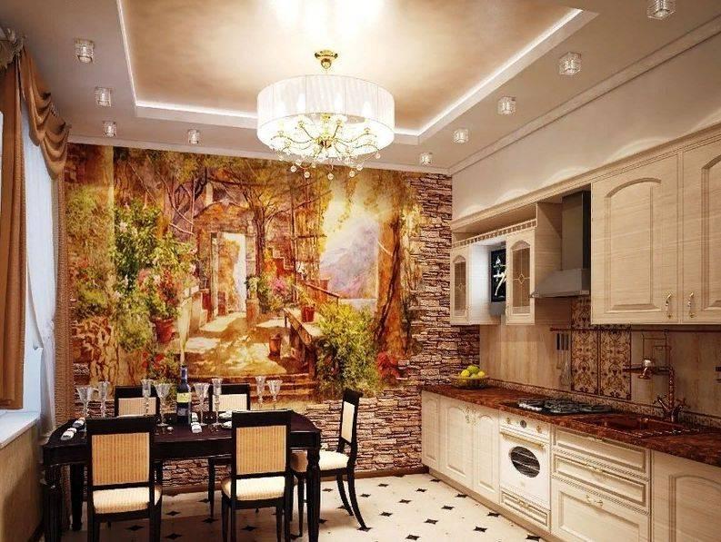 Фотообои возле стола в интерьере кухни: варианты дизайна и советы по выбору