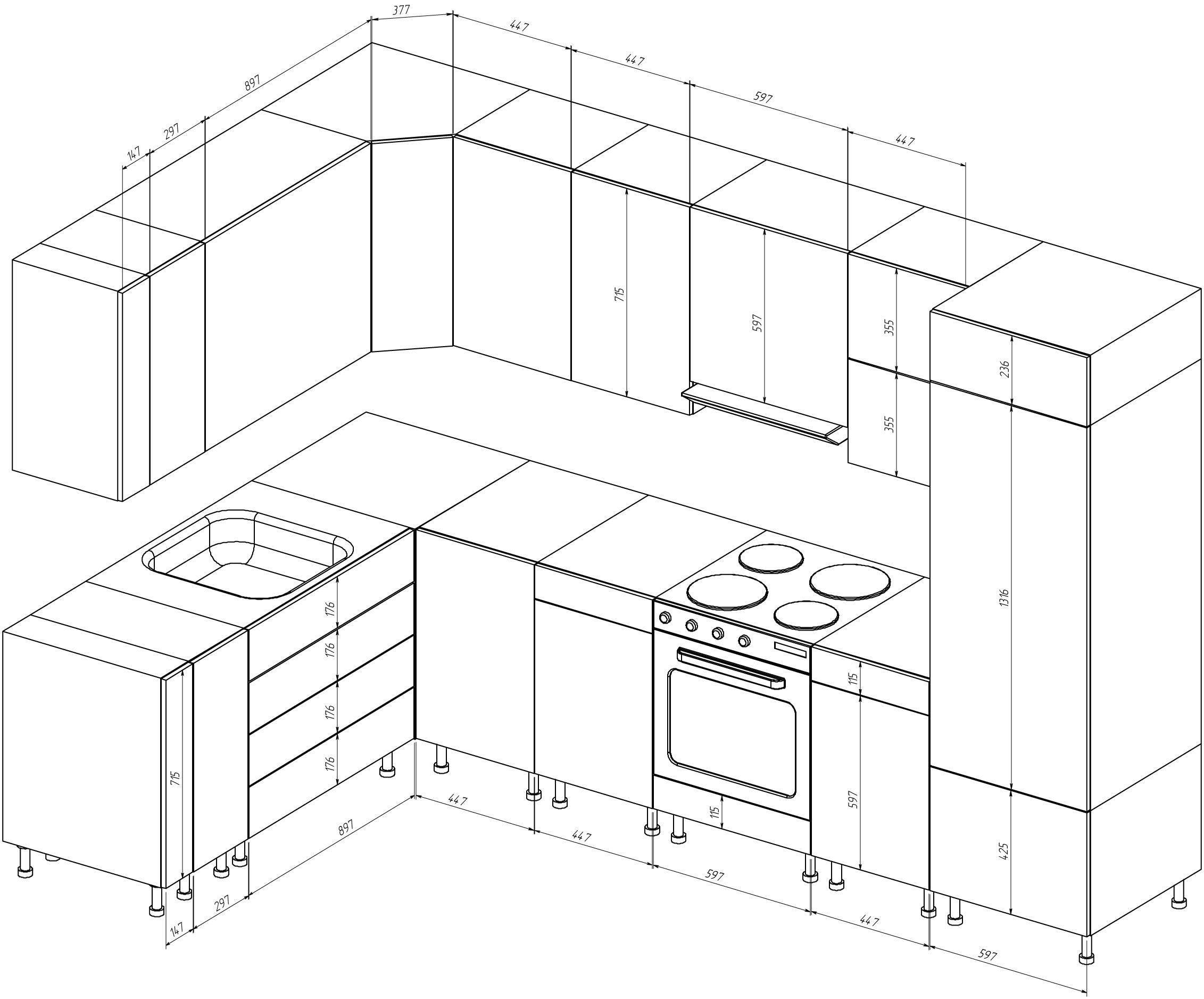 Проектирование кухонной мебели своими руками: чертежи стандартных и угловых шкафов с размерами