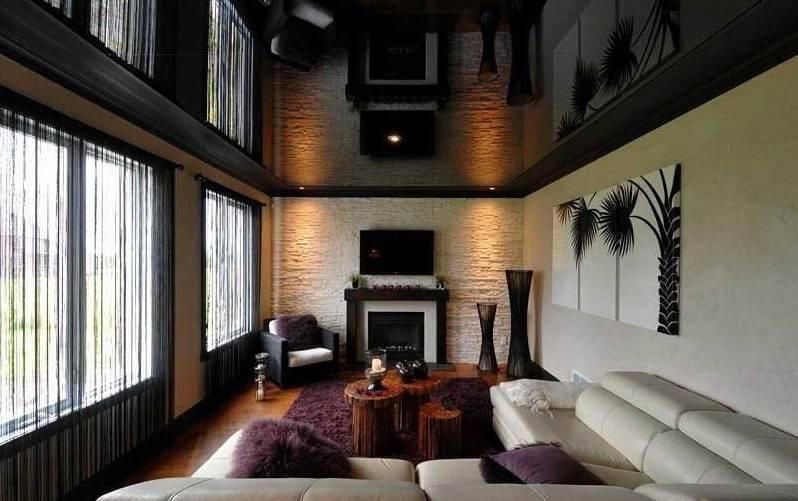 Черный потолок в интерьере: 75 идей применения