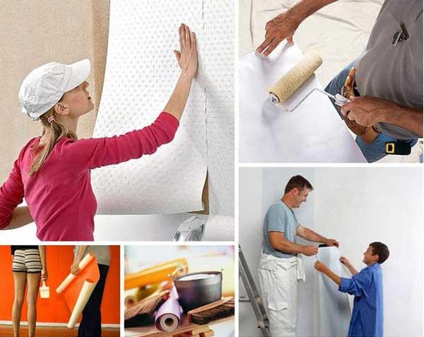Поклейка флизилиновых обоев или виниловые обои своими руками и улучшить стены в доме: Уроки для начинающих