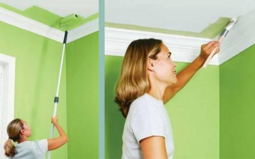 Каким валиком и как правильно красить потолок акриловой краской после побелки