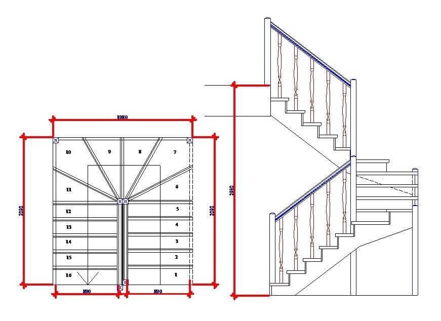Лестница с забежными ступенями с поворотом на 90 и 180 градусов