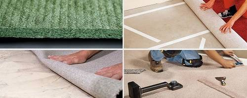 Укладка и монтаж ковролина: как правильно стелить, на ковролин, на деревянный и бетонный пол, на лестницу, своими руками, фото и видео