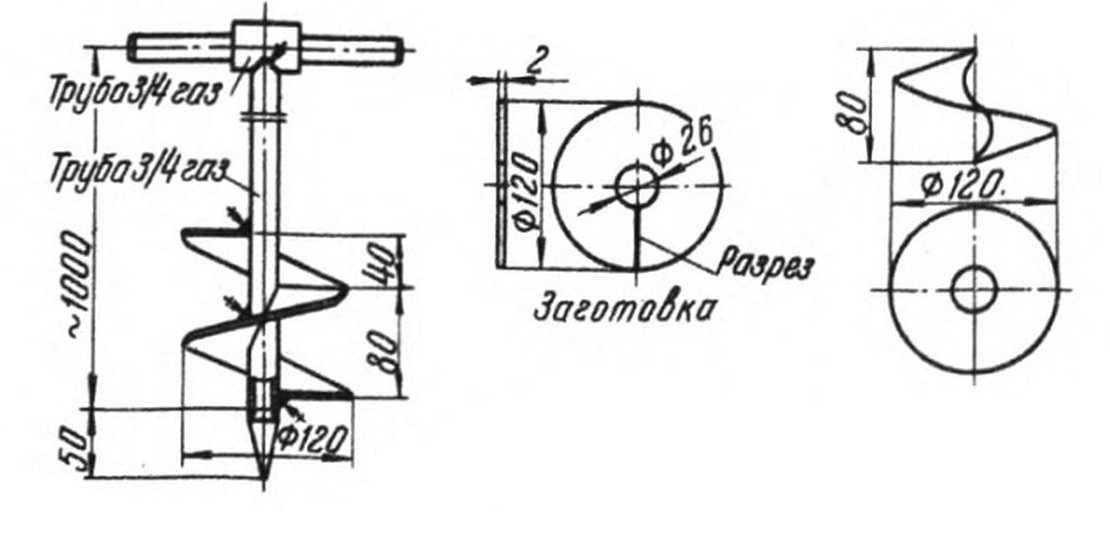 Самодельный ручной бур для устройства буронабивного фундамента | сделай сам www.sdelay.tv
