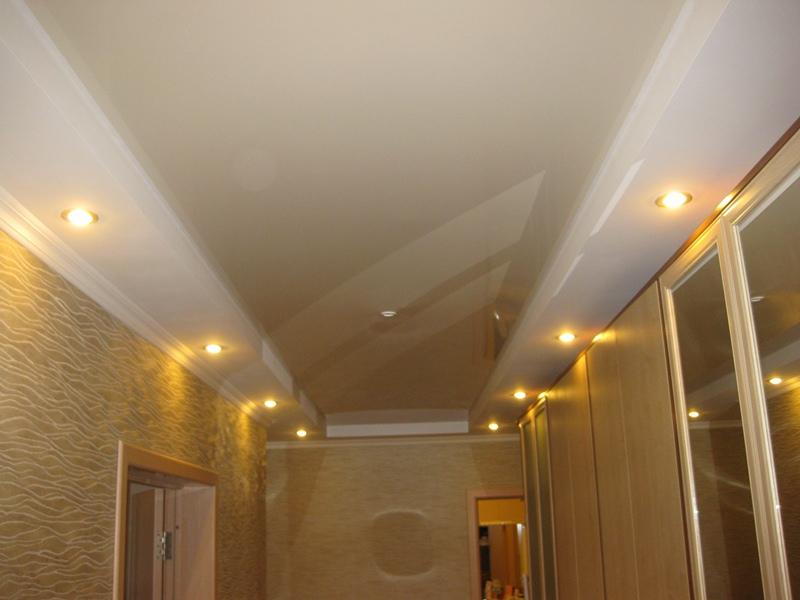 50 фото с примерами интерьеров залов с натяжными потолками и освещением от люстры и светильников