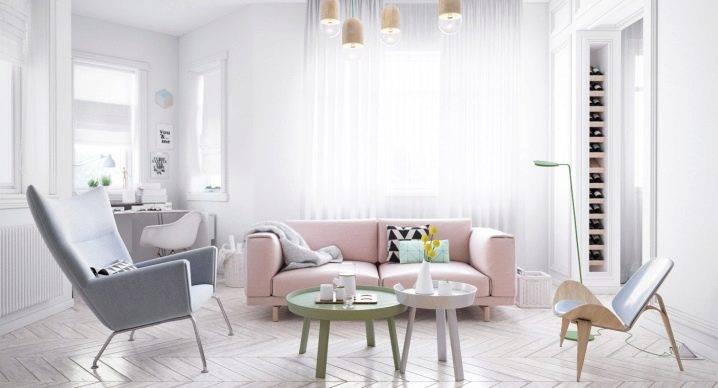 Интерьер гостиной в скандинавском стиле + фото