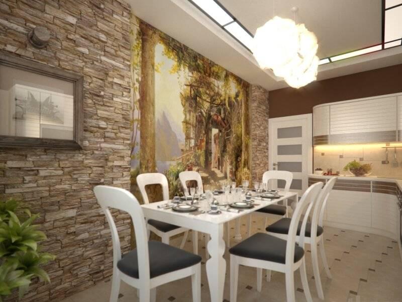 Как выполнить декор стены на кухне