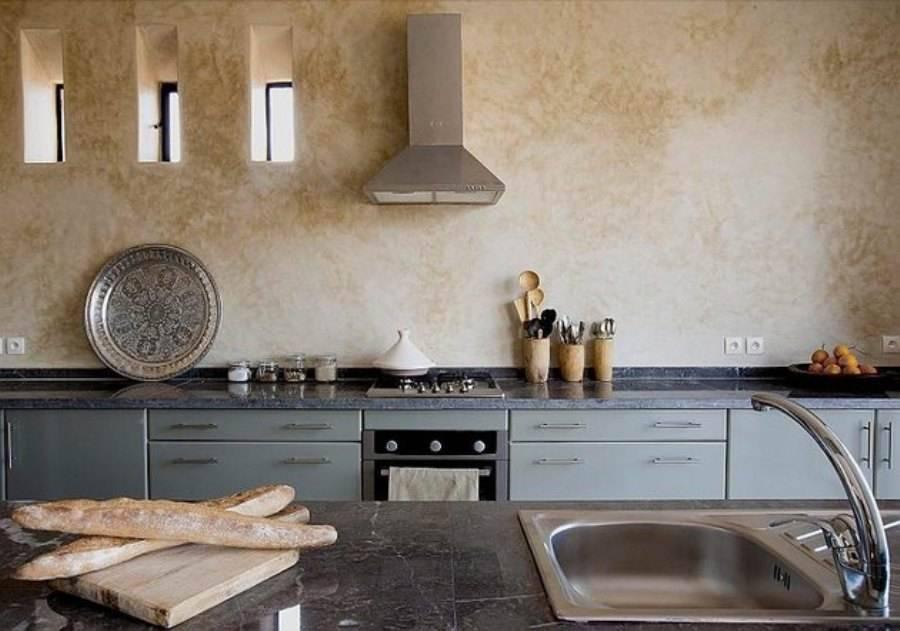 Декоративная штукатурка на кухне (54 фото): венецианская штукатурка для внутренней отделки стен и штукатурка-короед в квартире, другие виды в интерьере