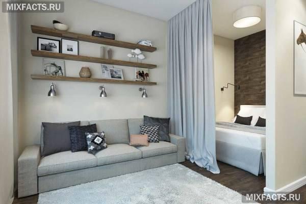 Зонирование комнаты на спальню и гостиную (90 фото): дизайн с перегородкой, как грамотно совместить, идеи и примеры
