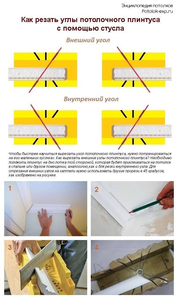 Как состыковать потолочный плинтус в углах своими руками