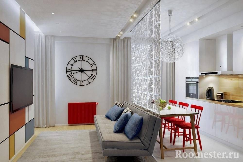 Современный дизайн кухни совмещенной с гостиной 2020 года