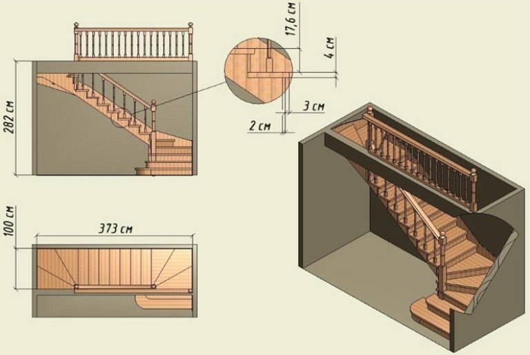 Оптимальный угол наклона лестницы на второй этаж 35°- 40°