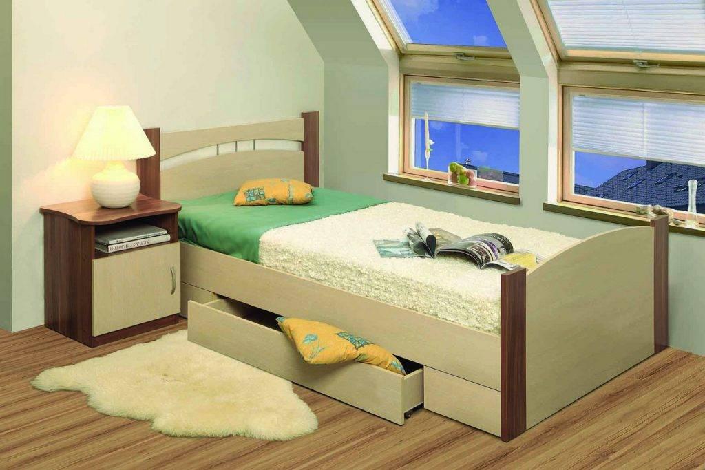 Односпальная кровать с ящиками для хранения вещей 40 фото