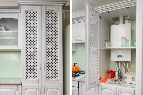 Как спрятать газовый котел на кухне: фото, дизайн, нюансы монтажа