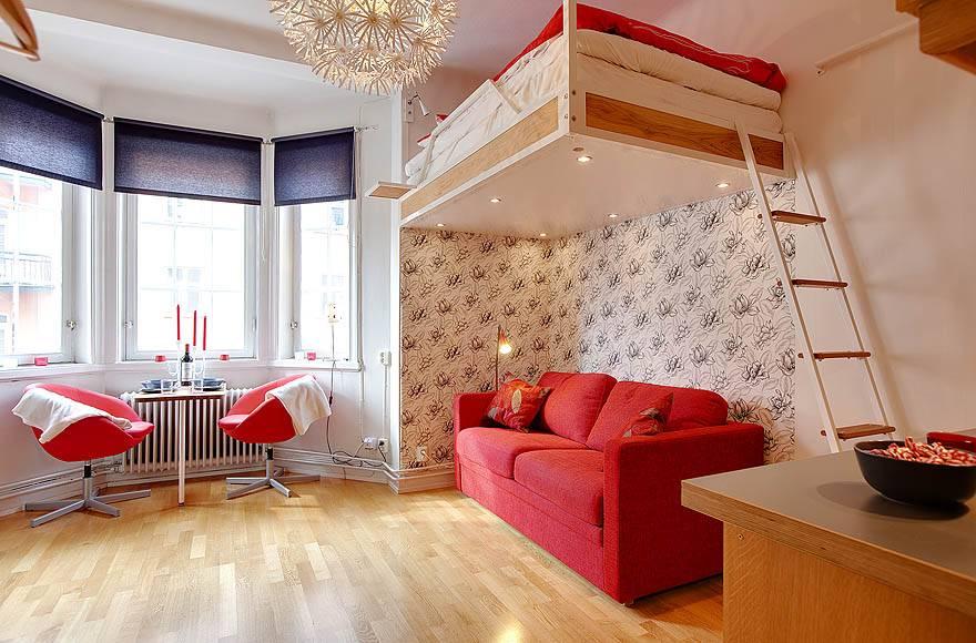 Стильный эксклюзивный дизайн комнаты 18 кв. м. в однокомнатной квартире