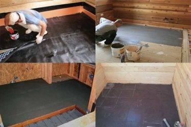 Гидроизоляция деревянного пола в ванной под плитку: материалы и технологии