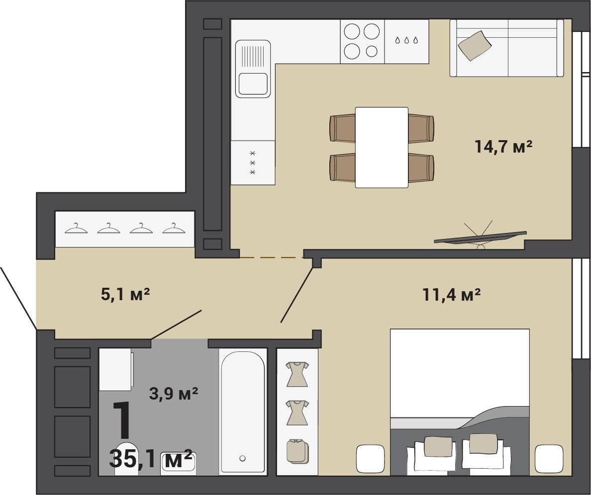 Интерьер однокомнатной квартиры 35 кв. м – фото и визуализации от студии «а8»