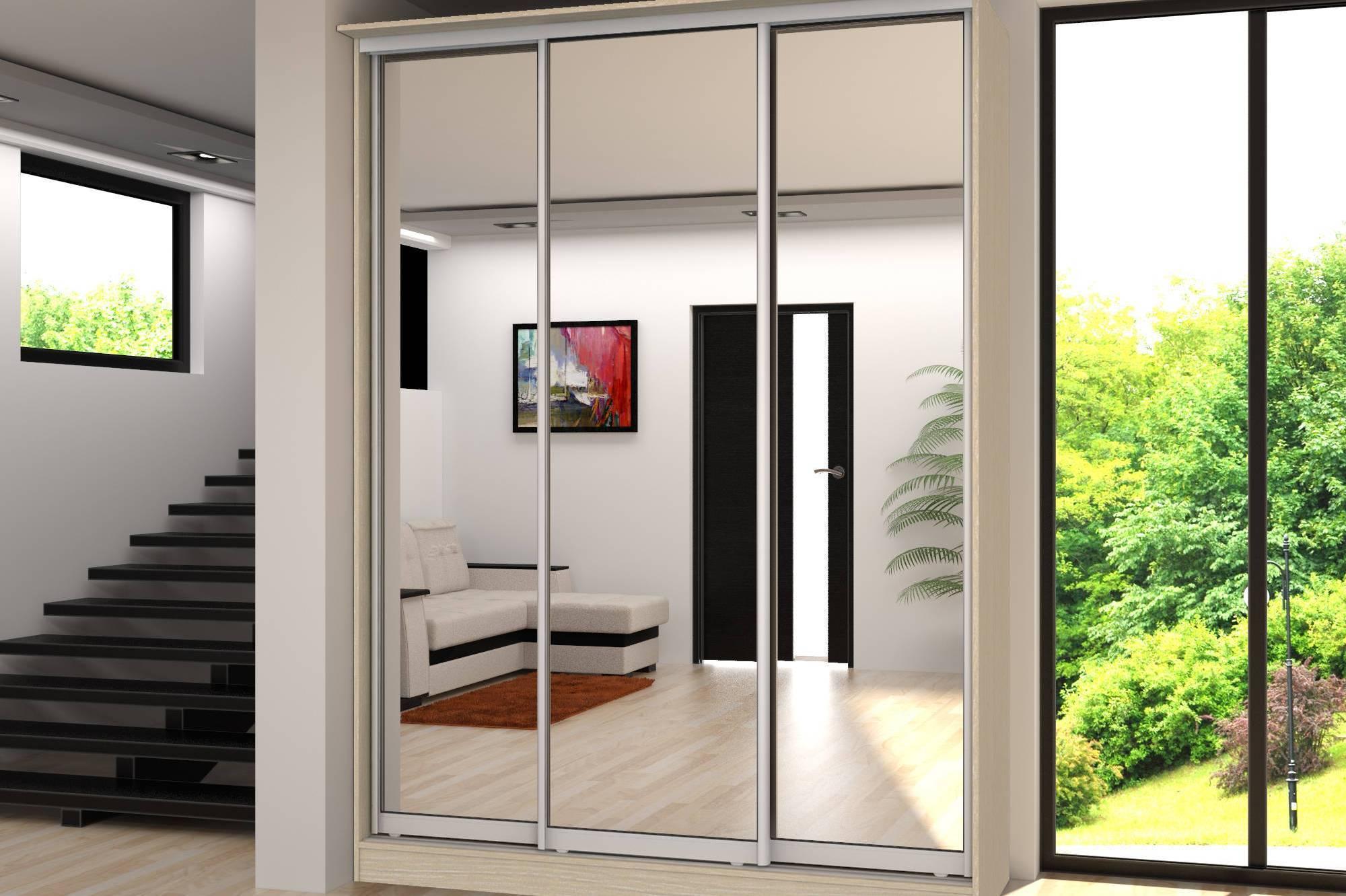 Шкафы-купе с зеркалом в прихожую (58 фото): белые шкафы с зеркальными дверями, варианты дизайна мебели, светлый трехдверный шкаф-купе